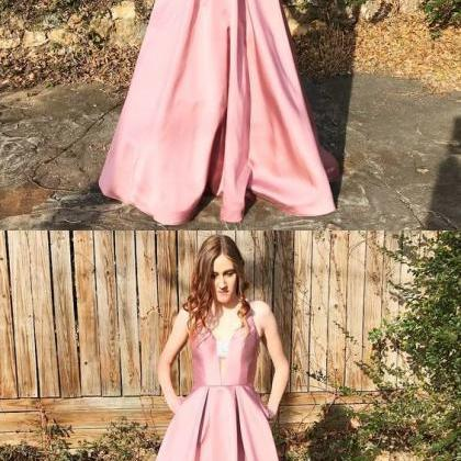 Unique Pink Long Prom Dress with Po..