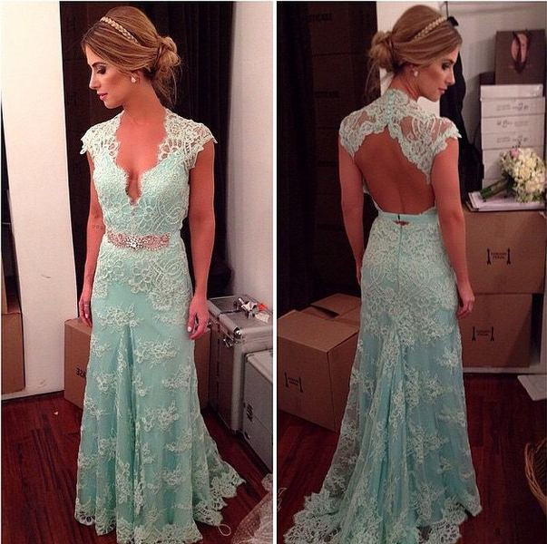 Elegant Blue Evening Dresses,2015 New Arrival Lace Prom Dresses,Open Back Sexy Women Gown,42701