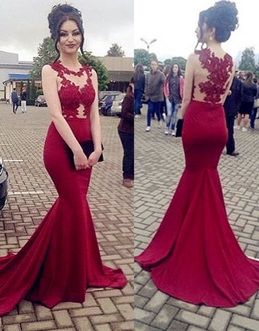 d2cfafafdac Gorgeous Mermaid Red Chiffon Prom Dresses Lace Appliques Women Dresses