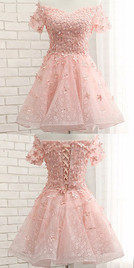 e5bff4f69fd Pink Lace Homecoming Dresses