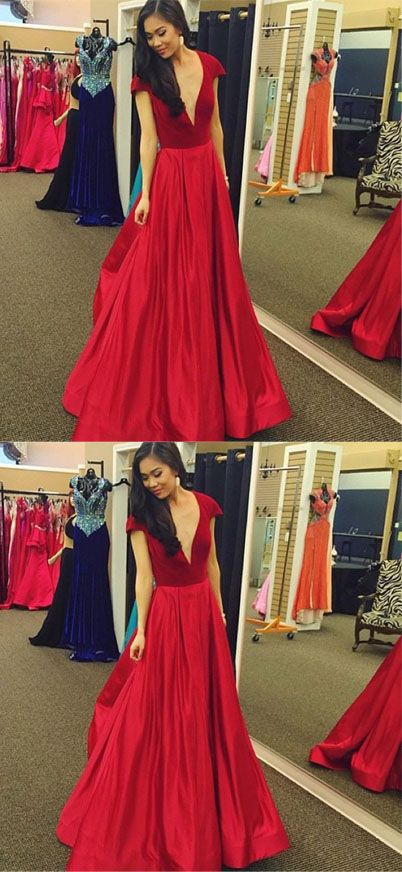 Sexy Red Deep V Neck Long Prom Dress e550cb2fff9d