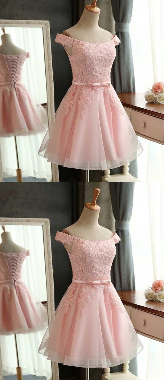 A-Line Off the Shoulder Lace-Up Pink Tulle Short Homecoming Dress with Lace,Cheap Homecoming Dress,Short Homecoming Dress,862306