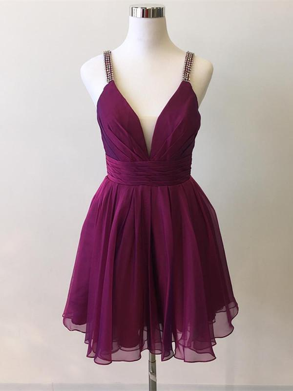 Simple Chiffon Spaghetti Straps V Neck A-line Homecoming Dress,Cheap Homecoming Dress,Short Homecoming Dress,862311