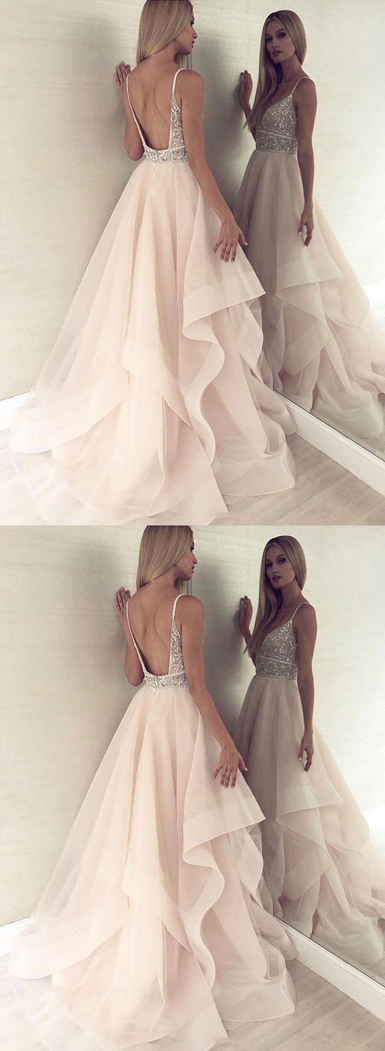 Champagne v neck tulle beaded long prom dress,Cheap Prom Dress,Sexy Evening Dress,Fashion Prom Dress,8121508