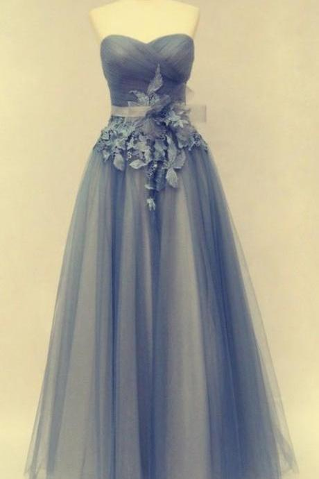 2017 Tulle Evening Dresses, Blue Prom Dresses, Sweetheart Party Dresses, A Line Evening Gowns, Fashion Evening Dresses, Custom Make Formal Dresses,42618