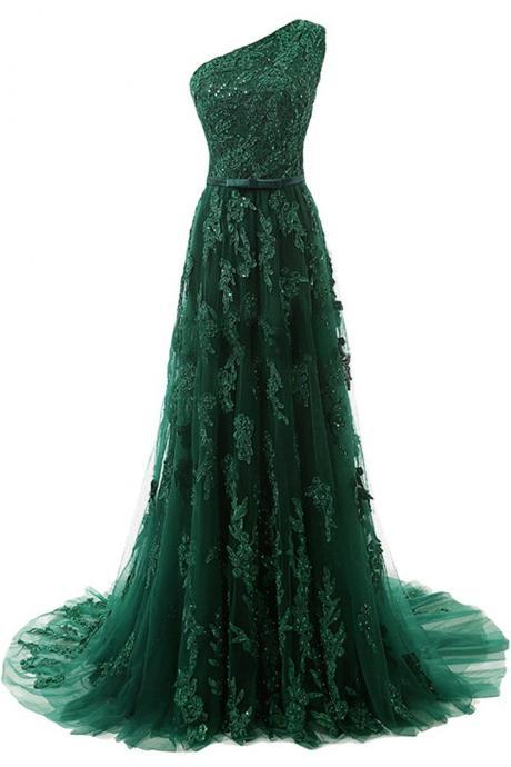 Dark Green Floor Length Lace Appliqués Tulle Evening Dress,One shoulder Evening Dress,Custom Made Dress,42703