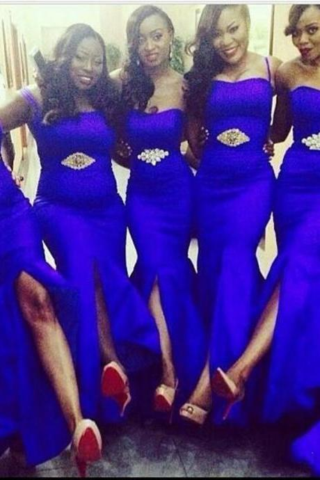 Cheap Sexy Royal Blue Mermaid Long Bridesmaid Dresses High Quality Split Wedding Party Gowns,4283