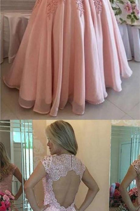 Short Sleeve Prom Dresses, High Neck Prom Dress, Pink Evening Gowns, Open Back Party Dresses, Chiffon Formal Dresses,50315