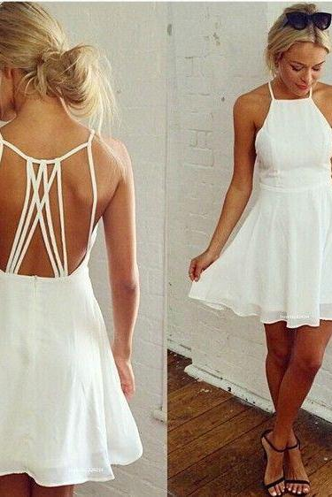 White Spaghetti Prom Dress,Open Back Evening Dress,Homecoming Dress,52003