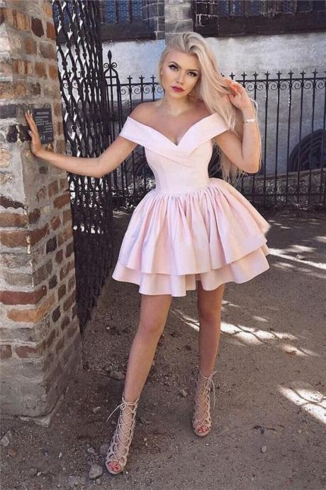 off the shoulder homecoming dresses, modest homecoming dresses, pink homecoming dresses,Cheap Prom Dress,83006
