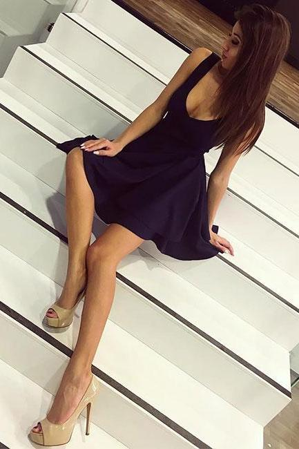 Navy Blue Simple V-Neck A-Line Homecoming Dress,Backless Short Party Dresses,Cheap Prom Dress,83011
