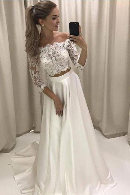 Elegant Simple Off Shoulder Lace-top Prom Dress,White Two-piece Long Evening Dress,Cheap Prom Dress,83012