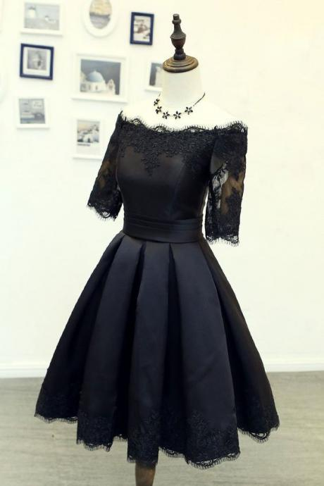 Black Lace Prom Dress,A Line Homecoming Dress,Short Dress,90302