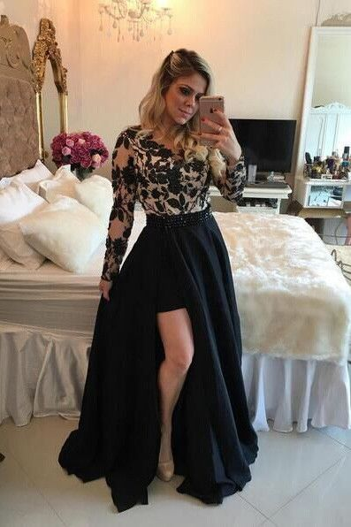 Long Sleeves Prom Dresses, Short Prom Dresses,Lace Applique Prom Dresses,90509