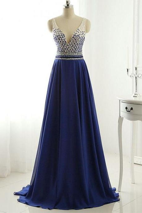 A-line V-neck Chiffon Sweep Train Beading Royal Blue Open Back Fashion Prom Dresses,Long Prom Dresses,91003