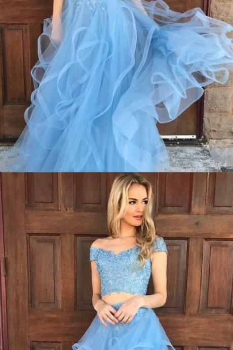 Unique A-line Two Pieces Light Blue Off Shoulder Prom Dress,Lace Applique Tulle Evening Dress,Fashion Prom Dresses,110301