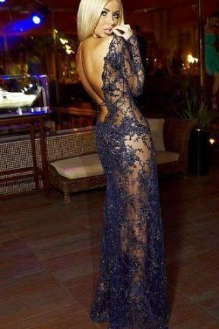 Unique Backless Lace Long Prom Dress,Long Sleeve Prom Dress,Sexy Evening Dress,Fashion Prom Dresses,111201