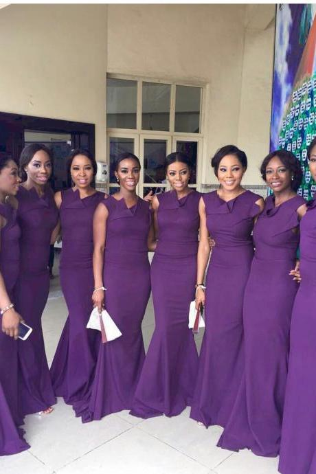 Purple Bridesmaid Dress, Long Bridesmaid Dress,Mermaid Bridesmaid Dress,Sexy Bridesmaid Dress,121107