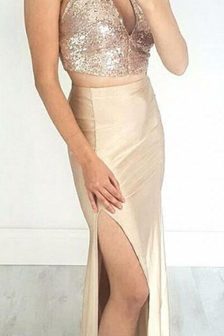 shiny two piece prom dress with sequins, sexy 2 piece split party dress with hole,Sexy Evening Dress,Fashion Prom Dresses,121212