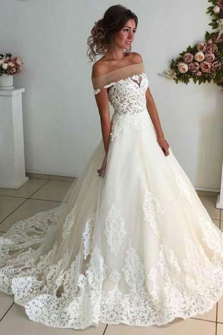 Gorgeous Off the Shoulder Long Lace Wedding Dress Bridal Gown,Wedding Gowns,122318