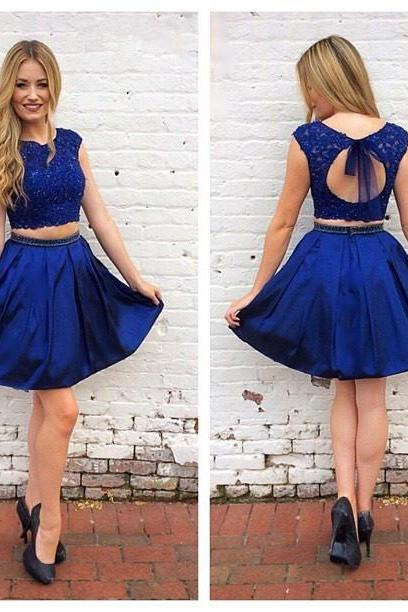 Two Piece Homecoming Dress, Royal Blue Homecoming Dress, Short Homecoming Dress, Luxurious Homecoming Dress,Pretty Homecoming Dresses,122328