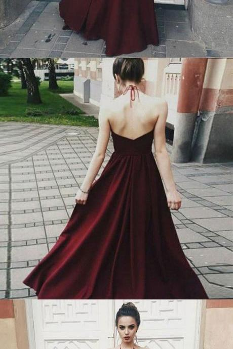 Opening Back Sexy Prom Dresses Dark Red Illusion Bodice Halter Long Party Gowns A line Evening Prom Dress,811406