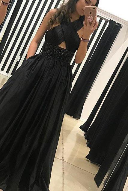 Fashion A-Line Cross Straps Sleeveless Black Floor Length Prom Dress With Beading,812023