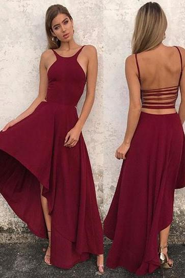 Modern A-Line Spaghetti Straps Burgundy Satin High Low Prom Dress,812028