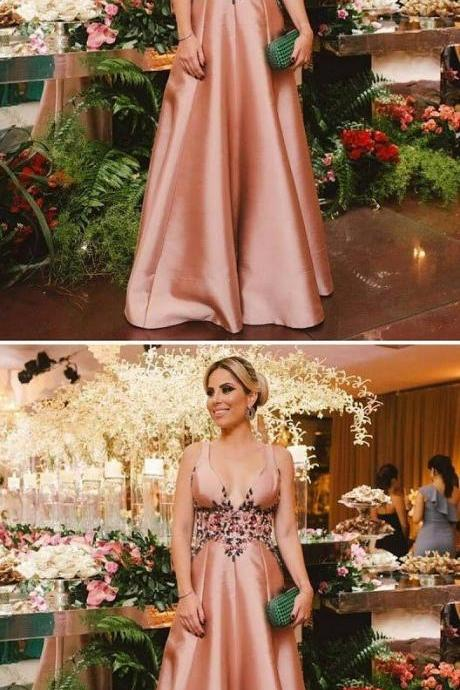 A-Line Deep V-Neck Sweep Train Blush Satin Backless Prom Dress with Beading,820414