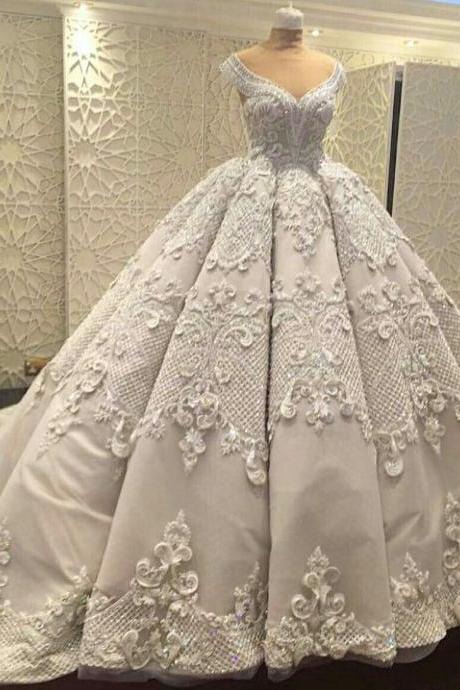 Gorgeous Wedding Ball Gown Prom Dresses,Elegant Prom Gowns ,Applique Evening Dresses,Fashion Prom Dress,830419