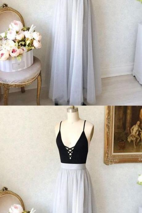 V-Neck spaghetti straps prom dress, tulle long prom dress, simple A-Line prom dress,Evening Dresses,Party Dresses,Fashion Prom Dress,831702