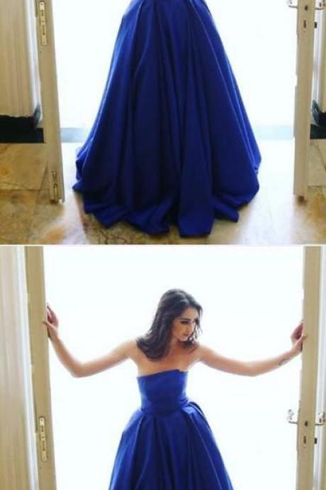 Simple A-Line Strapless Royal Blue Long Prom/Evening Dress,Sexy Ball Gown,Fashion Prom Dress,831703