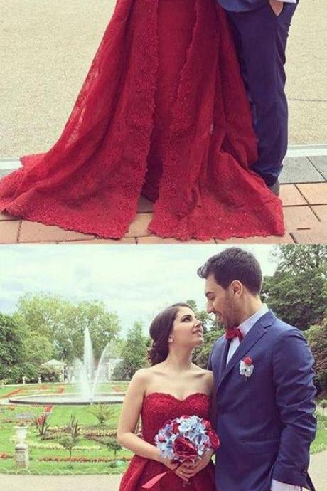 Charming Sweetheart Lace Prom Dress with Train,Strapless Sweetheart Red Wedding Dress,Sexy Ball Gown,Fashion Prom Dress,831706