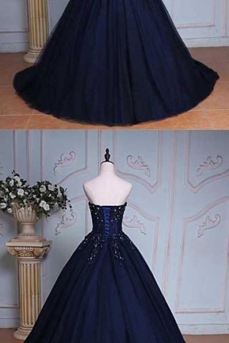 Princess A-Line Sweetheart Navy Blue Ball Gown ,Long Prom Dress,Quinceanera Dresses,Sexy Ball Gown,Fashion Prom Dress,831710