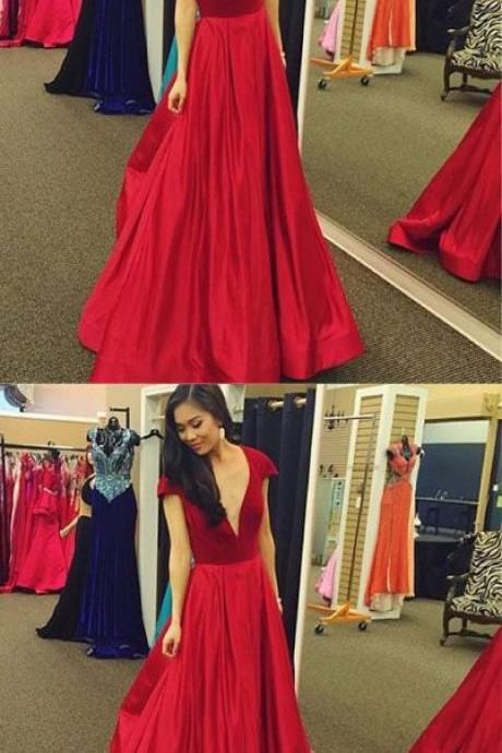 Sexy Red Deep V Neck Long Prom Dress,Cap Sleeve Satin Evening Dress, Formal Dresses,Party Dresses,Fashion Prom Dress,831713
