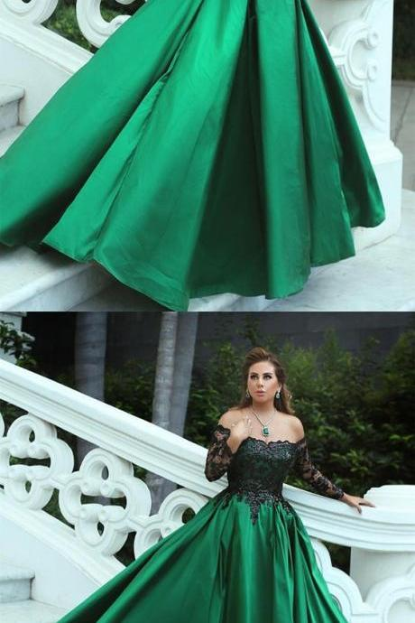 Off The Shoulder Lace Long Sleeves Satin Ball Gowns,Hunter Green Modern Prom Dresses,Party Dresses,Fashion Prom Dress,831714