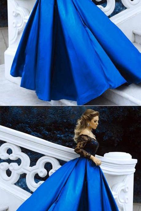 Black Lace Long Sleeves Prom Dresses Ball Gowns Off The Shoulder Royal Blue Evening Dresses,Modern Prom Dresses,Party Dresses,Fashion Prom Dress,831716