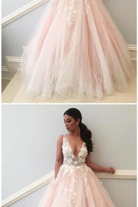 Lace Applique Pink A line Long Custom Evening Prom Dresses,Modern Prom Dresses,Party Dresses,Fashion Prom Dress,840307