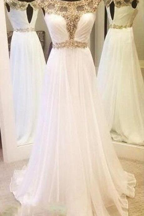 Charming Prom Dress,Sexy Prom Dress,White Chiffon Prom Dresses,Long Prom Dresses,Formal Dress,Modern Prom Dresses,Party Dresses,Fashion Prom Dress,840337
