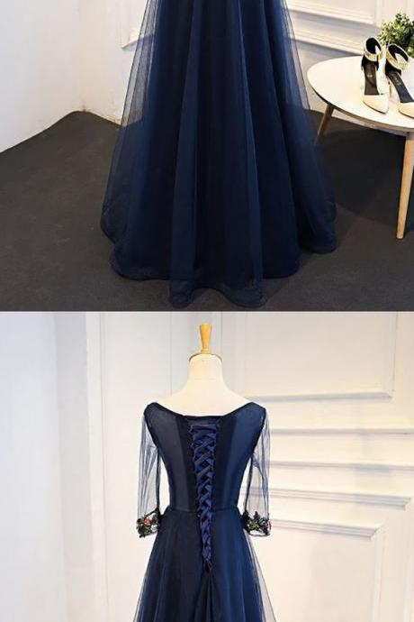 Navy Blue Long Tulle Prom Dress Middle Sleeves With Flowers,Modern Prom Dresses,Party Dresses,Fashion Prom Dress,840338