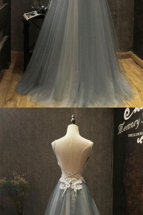 Gray sweetheart neck lace applique tulle long prom dress, gray evening dress,Party Dresses,Fashion Prom Dress,841002