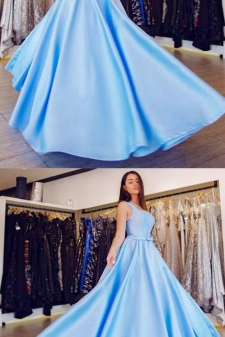 A-Line Square Neck Floor-Length Light Blue Satin Prom Dress with Bow,Party Dresses,Fashion Prom Dress,841003