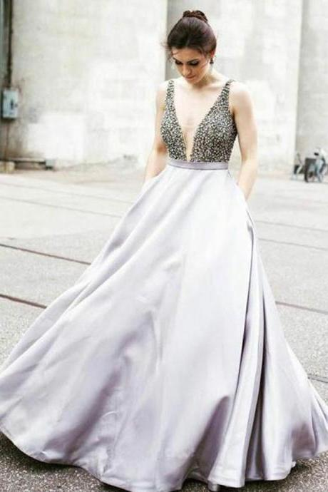 A-Line V Neck Floor-Length Beading Prom Dress with Pockets,Party Dresses,Fashion Prom Dress,841004