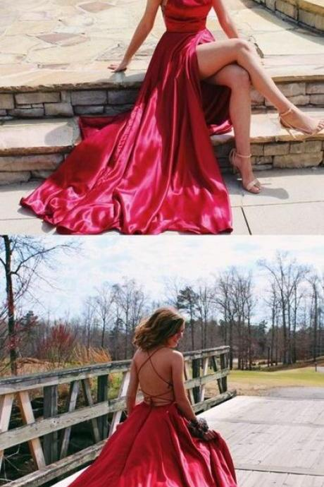 Gorgeous Straps Red Long Prom Dress with Slit,Backless Evening Dress,Party Dresses,Fashion Prom Dress,861207