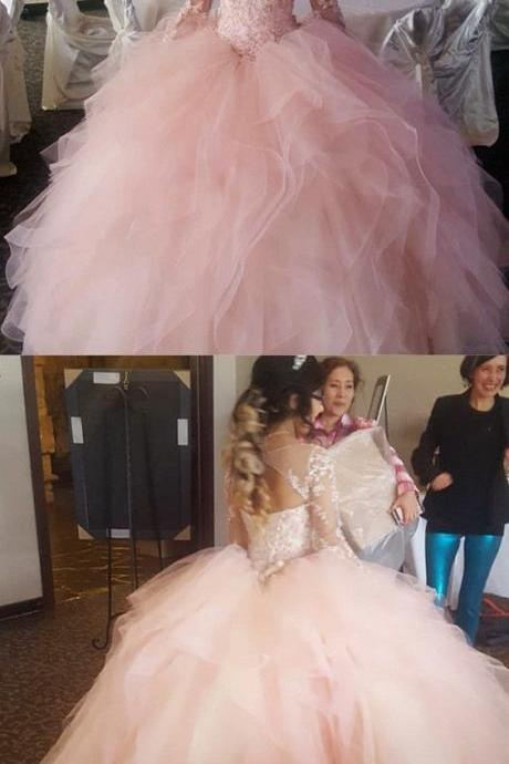 Light Pink Organza Ruffles Ball Gowns Quinceanera Dresses Lace Long Sleeves,Custom Made Evening Dress,Bridal Dress,Wedding Party Dresses,861237