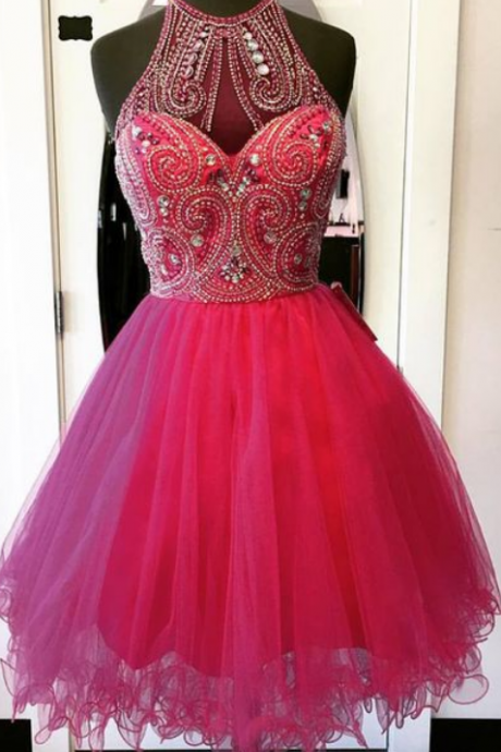 Halter Beading Tulle Homecoming Dress,Short Prom Gown,Cheap Homecoming Dress,Short Homecoming Dress,861420