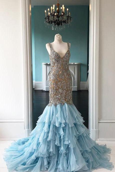 Blue Tulle Mermaid Long Prom Dress with Beadings,Cheap Prom Dress,Evening Dresses,Fashion Prom Dress,862002