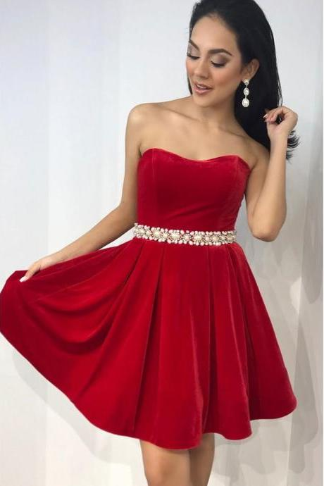 Elegant Strapless A-line Homecoming Dresses With Beads,Cheap Homecoming Dress,Short Homecoming Dress,862312