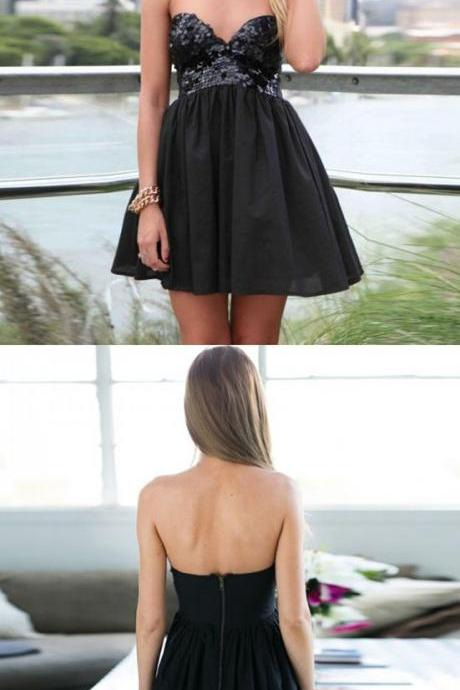 Black Sequins Sweetheart Short Ruffled Skater Dress, LBD, Homecoming Dress