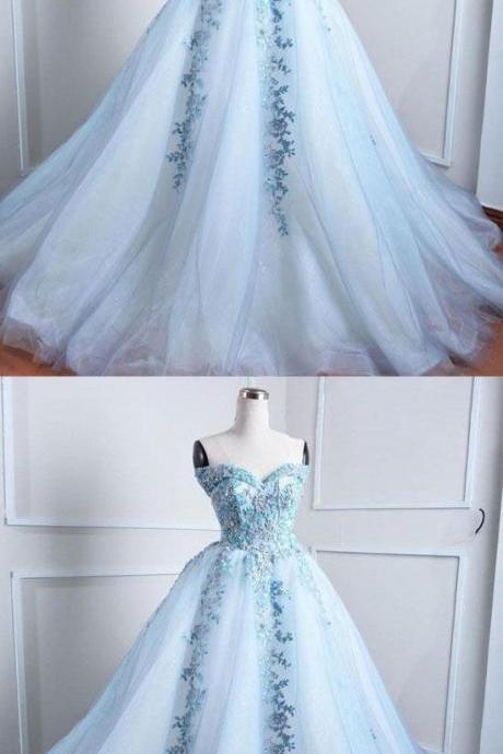 Light blue tulle lace applique long prom dress, blue evening dress, Quinceanera Dresses,Custom Made Evening Dress,Bridal Dress,Wedding Party Dresses,8102405